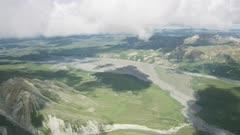 Aerial of a tourist route through Denali National Park
