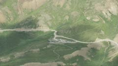Aerial of a tourist route through Denali National Park