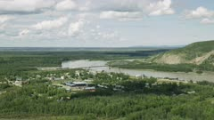Aerial shot of the city Nenana, Alaska