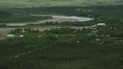 Aerial shot of the remote town village of Bettles, Interior Alaska