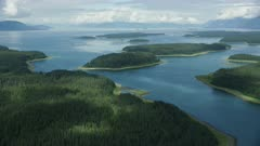 Scenic aerial of Glacier Bay National Park and Preserve