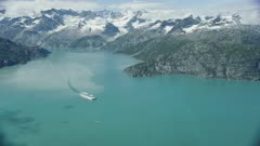 Aerial of a cruise ship in Glacier Bay National Park and Preserve