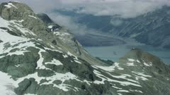 Scenic aerial of snow-capped mountains in Glacier Bay National Park and Preserve