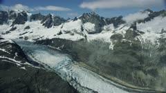 Aerial of a beautiful glacier in Glacier Bay National Park, Alaska