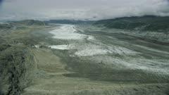 Aerial of a glacier in Glacier Bay National Park, Alaska