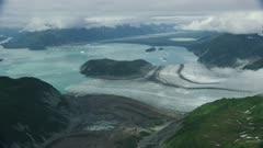 Aerial of beautiful glaciers in Glacier Bay National Park, Alaska