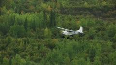 Aerial of a Cessna Bush Airplane flying over Interior Alaska