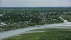Aerial view of Fort Yukon, Alaska