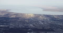 Aerial of Alaskan city Anchorage in the springtime