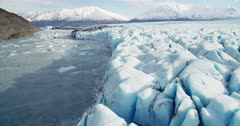 Aerial shot of the Knik Glacier in Southcentral Alaska