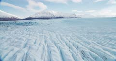 Aerial shot of the Knik Glacier in Southcentral Alaska