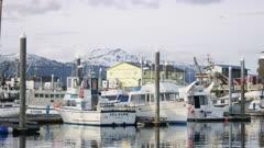 Boats moored at the Homer Boat Harbor, Alaska
