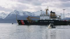 U.S. Coast Guard boat at the Homer Boat Harbor, Alaska