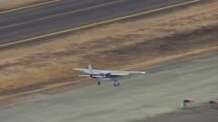 Airplane landing on a runway near Bethel, Alaska