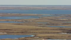 Aerial of the Yukon Delta landscape during the early spring migration time