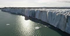 Aerial shot of a tidewater glacier in Alaska