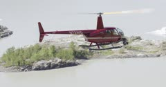 R44 helicopter with a Cineflex gimbal filming aerials in Alaska for ZatzWorks