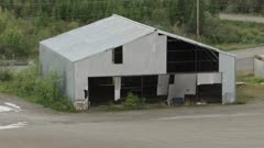 Aerial view of a rundown building in Fairbanks, Alaska