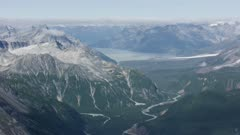 Aerial shot of the snowy Tordrillo Mountains in Southcentral Alaska