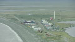 Aerial of Wind Turbines in the remote Alaskan village of Shaktoolik, on the Bering Sea coast