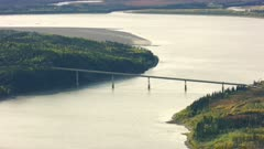 Aerial shot of the Yukon River and E. L. Patton Bridge in late summer