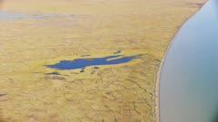 Aerial of the Chukchi Sea and Northern Alaska coastline