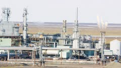 Oil production and infrastructure facilities near Prudhoe Bay, Alaska