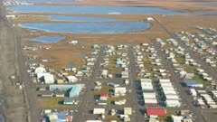 Aerial shot of the village of Barrow, Alaska