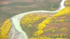 Boreal forest in fall colors and rivers in Gates of the Arctic National Park