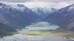 UHD aerial of river flowing through Arctic National Wildlife Refuge ANWR