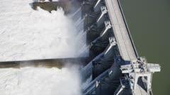 UHD 8k Aerial of dam and powerplant hydro on Columbia River Oregon Washington