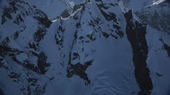UHD aerial of Glaciers and snow covered mountains in Glacier Bay National Park