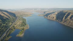 UHD aerial of columbia river gorge near the dalles