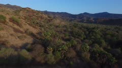 Scenic. Tropical forests and savannahs on hilly terrain. Distant mountains.