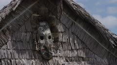 Mask at Men's House where sacred Flutes are kept and played