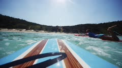 Pov Of A Surfboard Riding Waves At Double Island, Australia