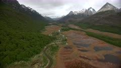 Alluvial Plain & lake, Tierra del Fuego National Park, Isla Grande, Ushuaia, Argentina