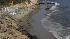 OIL SPILL SANTA BARBARA 2015-OIL IN WATER and ON BEACH-WORKERS