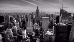 4K UltraHD A beautiful timelapse of nightfall in the heart of Manhattan in Black and White