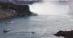 4K UltraHD The Horseshoe Falls with many gulls flying