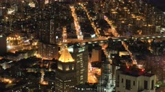 4K UltraHD Night aerial timelapse of Brooklyn and Manhattan Bridges