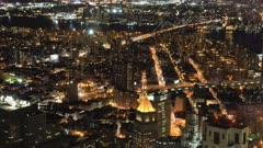 4K UltraHD Night aerial timelapse of Brooklyn Bridge