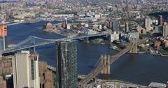4K UltraHD Aerial view of Brooklyn and Manhattan Bridges