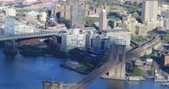 4K UltraHD Aerial view of Manhattan and Brooklyn Bridges