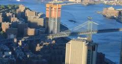 4K UltraHD Aerial view of the Manhattan Bridge to Brooklyn