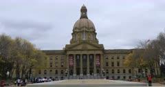 Alberta, Canada legislature with charity runners 4K