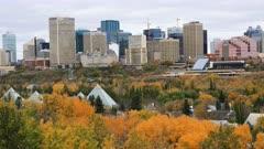Edmonton, Canada City Center in fall, a timelapse 4K