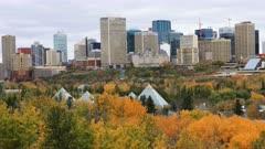 Edmonton, Canada City Center in autumn, a timelapse 4K