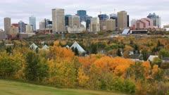 Edmonton, Canada downtown in fall, a timelapse 4K