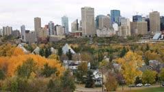 Edmonton, Canada downtown in autumn, a timelapse 4K